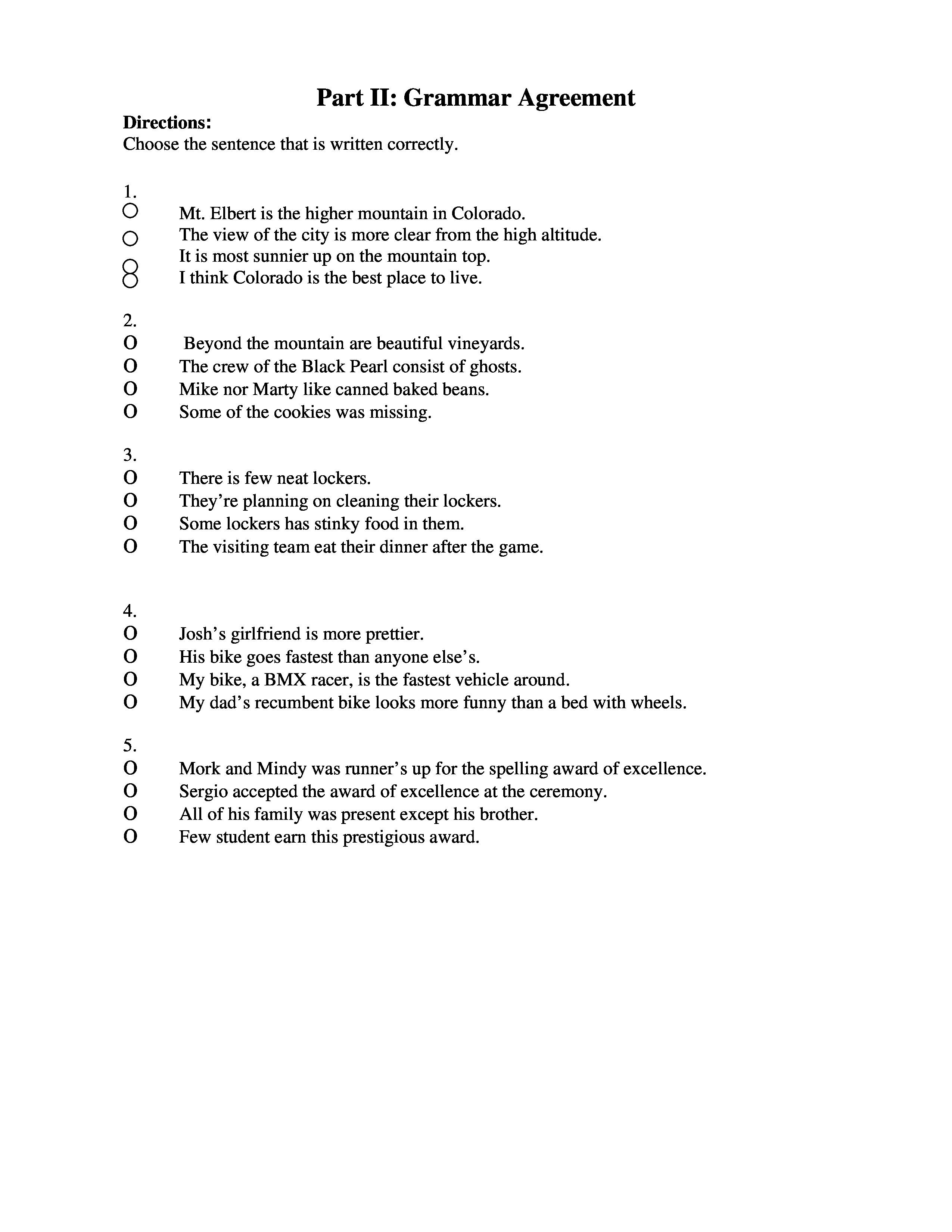 Grammar Multiple Choice Grammar Quiz Part 2