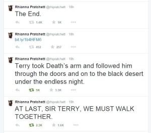 Pratchett Twitter announcement