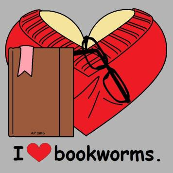 red bookworm, brown book