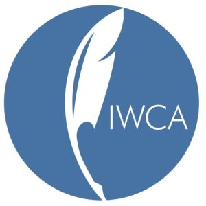 The IWCA logo, a quill pen in a blue circle.