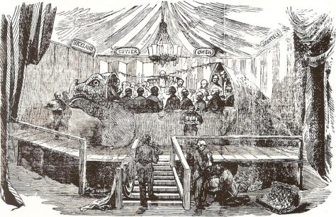 The famous banquet in the mould of the Crystal Palace Iguanodon, New Year's Eve, 1853