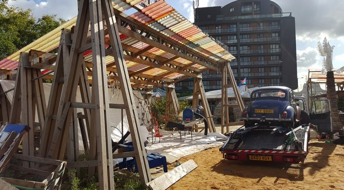 Building benches at Canning Town Caravanserai