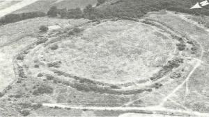 Aerial view of Cadbury Camp taken in 1946.