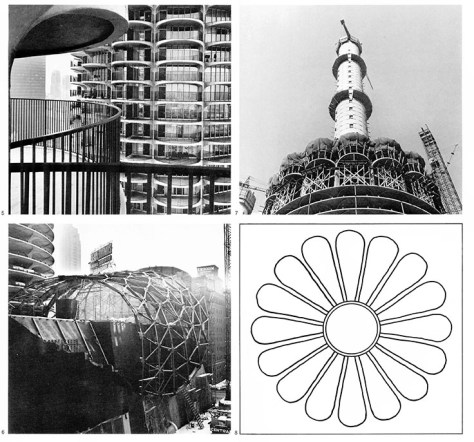 5. A view of the concrete balconies in the Marina City residential towers. Every habitable room in the towers opens onto a balcony. 6. The steel frame supporting the sprayed concrete lead-sheeted roof of the theater building. 7. The circular parking structure and the beginning of the apartment levels which both surround the already completed core structure. 8. Schematic floor plan of the structure of the apartment buildings. Goldberg: Dans la Ville