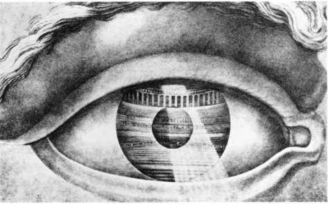 Ledoux designed in 1800 a theatre at Besanion, literally as reflected in the eye of the beholder.
