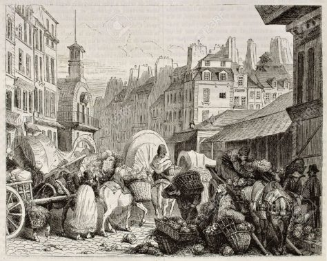 Les Halles old view, Paris. Created by Girardet, published on Magasin Pittoresque, Paris, 184
