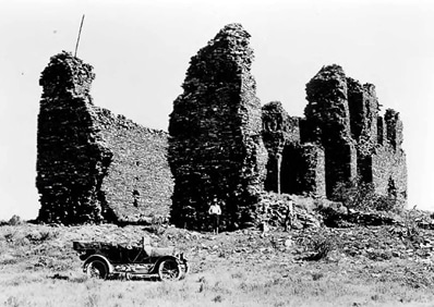 Quarai was abandoned in the 1670s and fell to ruin. Above, the mission church before excavation and stabilization, c. 1935 Courtesy of the National Park Service