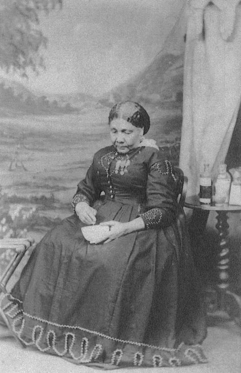The only known photograph of Mary Seacole, taken for a carte de visite by Maull & Company in London (c. 1873)