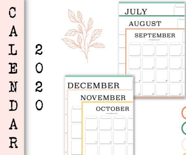 Free printable. Monthly calendar 2020 july august september october november december