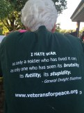 "Mandy Manderino sporting her ""Veterans for Peace"" T-shirt. She served as an Army nurse in D.C. during the Vietnam war."