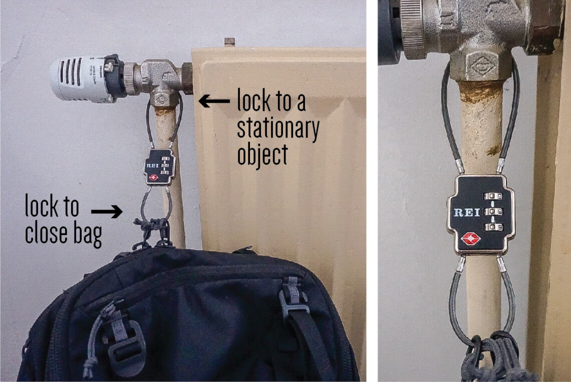 Double-sided cable lock, showing how to secure a backpack to a stationary object for travel security