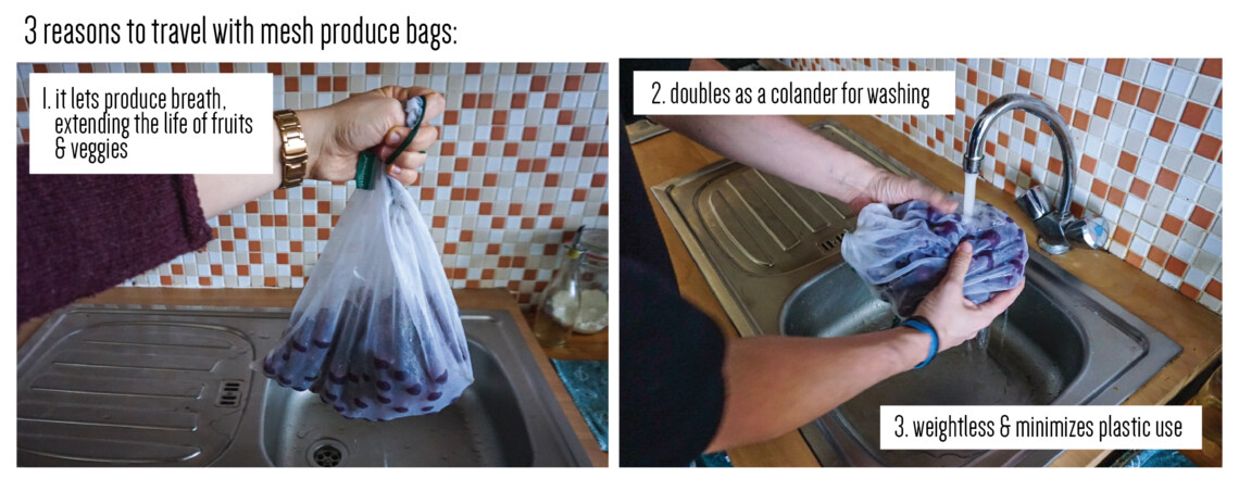 use mesh produce bags to preserve fruit and as a colander