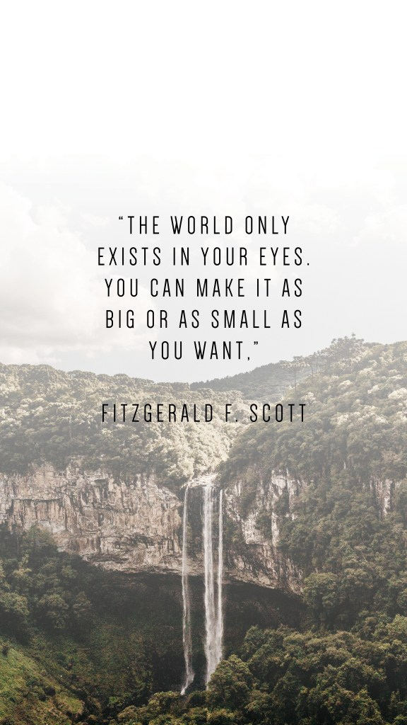 "THE WORLD ONLY EXISTS IN YOUR EYES. YOU CAN MAKE IT AS BIG OR AS SMALL AS YOU WANT,"" FITZGERALD F. SCOTT QUOTE"