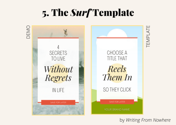 "Template #5 from the ""summertime"" pin template pack. This Pinterest template design is titled ""surf,"" and is shown in demo form and then the template form"