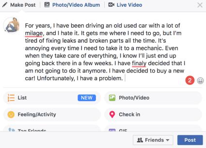 Facebook spell checker app demo