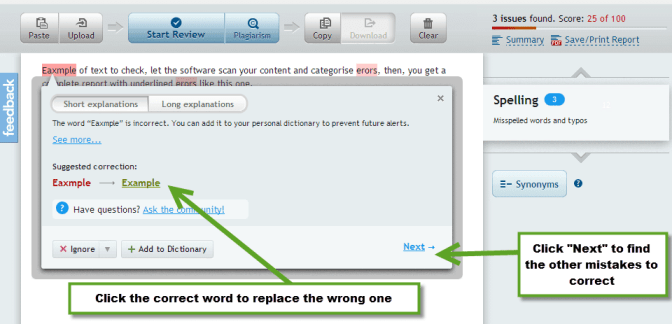 Proofreading tool with grammar checker