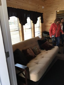 Inside one of the swanky tiny houses.
