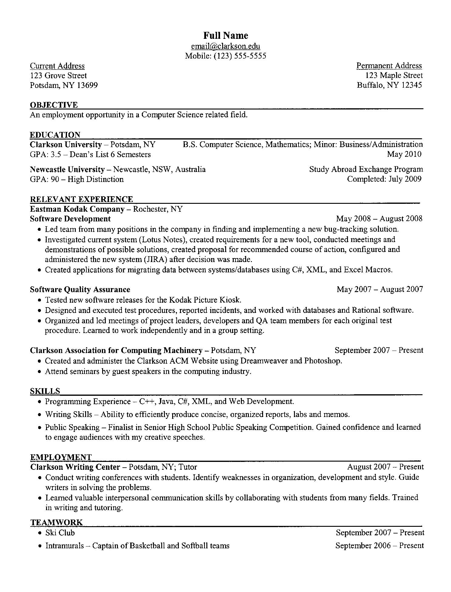 What Goes Into A Resume A Decent Resume If Youre Going Into Computer Science