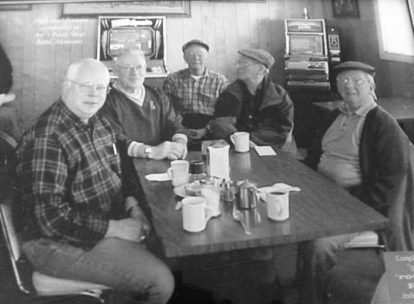 My old coffee group at Joe's Pasty Shop ca. 20000. From L to R, Paul Vang, Otto Johnson, Frank Hustava, Howie Wing, Bill Hitchcock. Several missing, including John Banovich and Jack Hanley (still living), who took the photo.