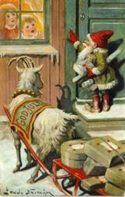 Gnome and goat arrive to deliver Christmas gifts (Jenny Nystrom)