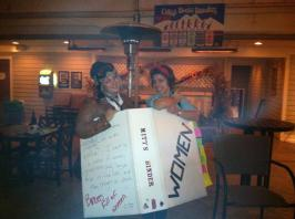 One year, we dressed up as famous feminists in a binder full of women. Remember, when Mitt Romney said that thing?