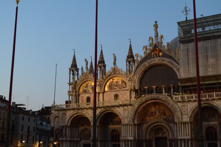 St. Mark's Basilica at sunset meant the gold work was gleaming.