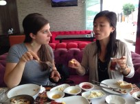 Strategizing our attack on the Turkish breakfast.