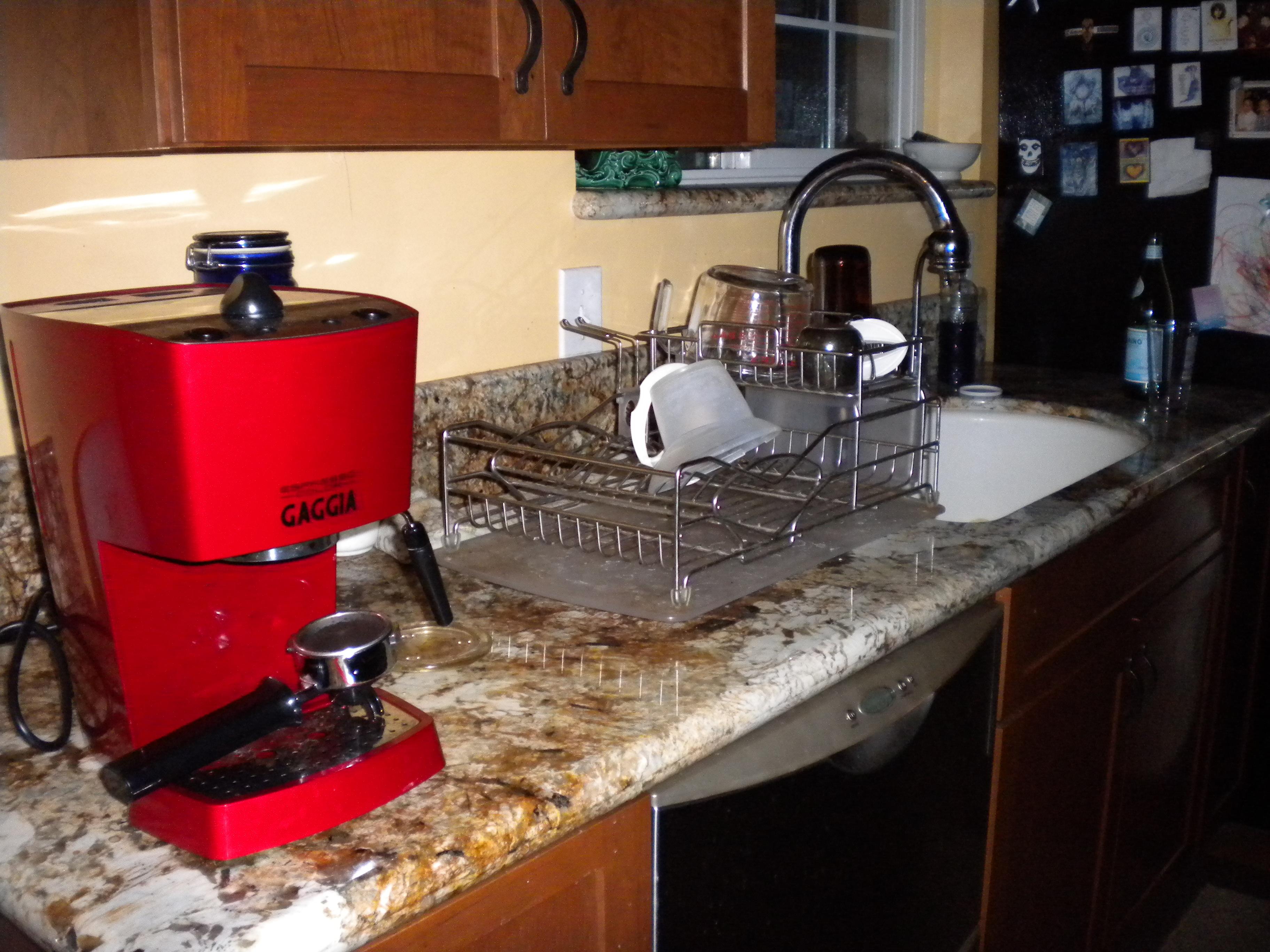 The red cappuccino machine
