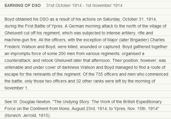 John Boyd Doppings DSO citation for the Battle of Gheluvelt
