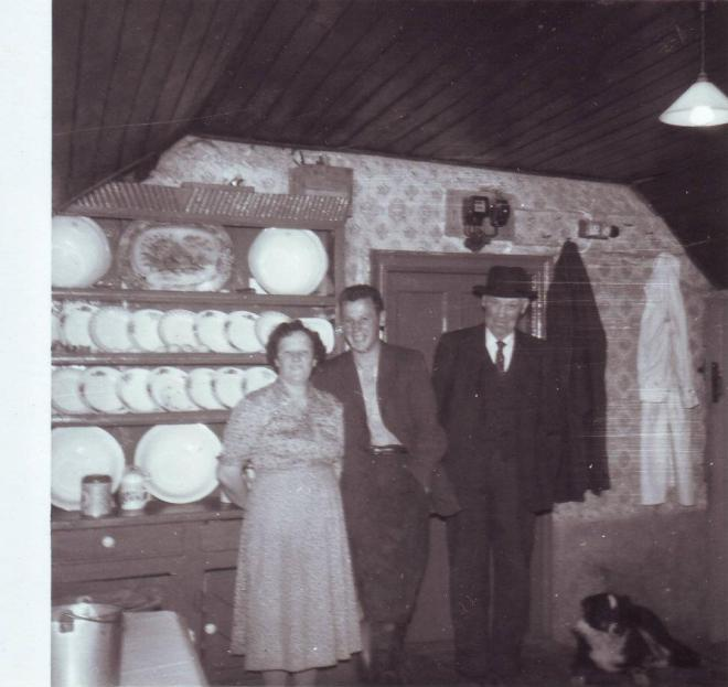 The parlour in the Donohoe house in Lislea: by mothers father, brother and mother, outside Ballinalee.