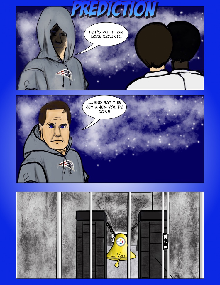 Comic: Patriots' Bill Belichick lock up Le'Veon Bell