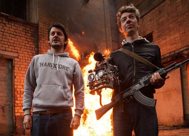 Ilya Naishuller and Sergey Valyaev on the set of Hardcore Henry