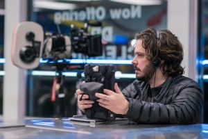 Director Edgar Wright on the set of TriStar Pictures' BABY DRIVER.