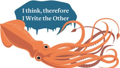 Sentient Squid Scholarship Logo - an orange squid swims underneat a text bubble that reads I Think, Therefore I Write The Other