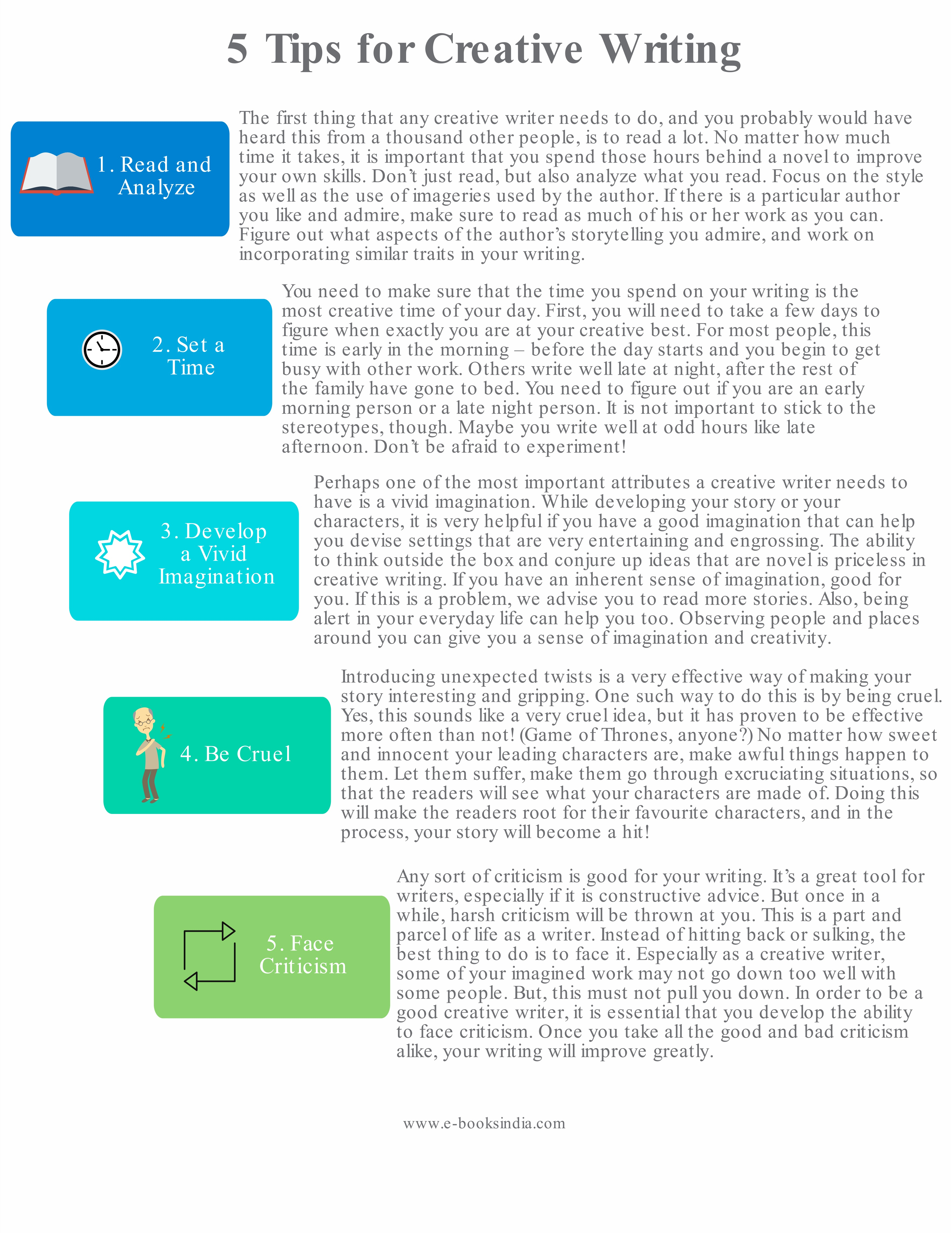5 Tips For Creative Writing Infographic