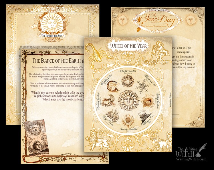 printable wheel of the year grimoire or book of shadows page download