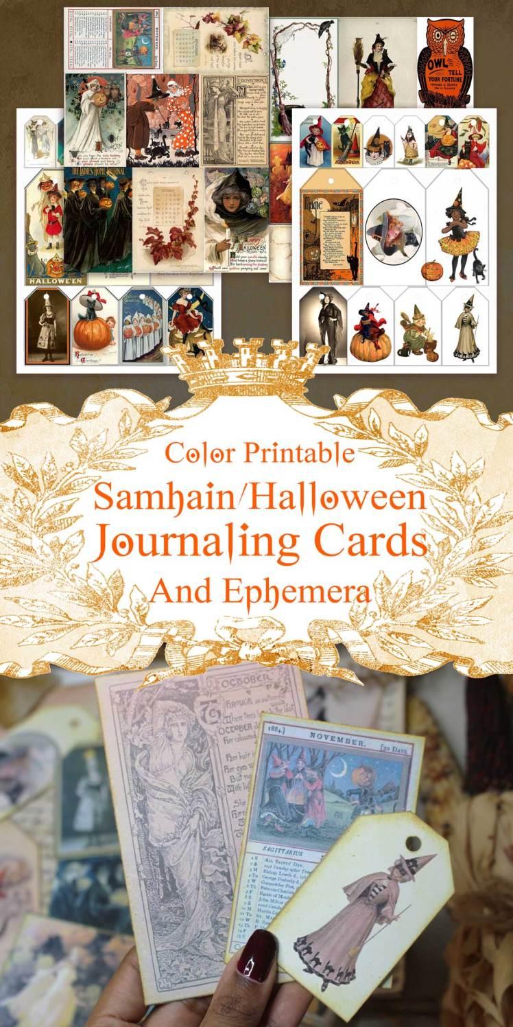 samhain journaling cards, tags and ephemera