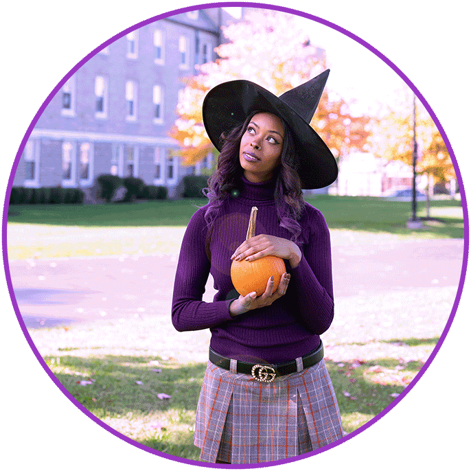 afura with witch hat and pumpkin