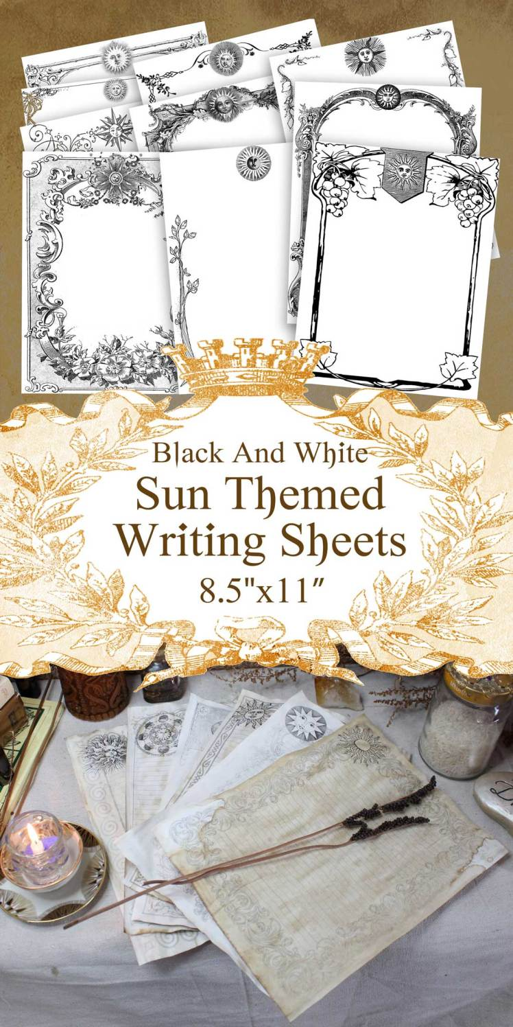 printable celestial sun junk journal page sheets large black and white