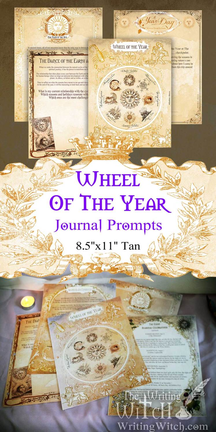 printable wheel of the year journal prompt pages large tan