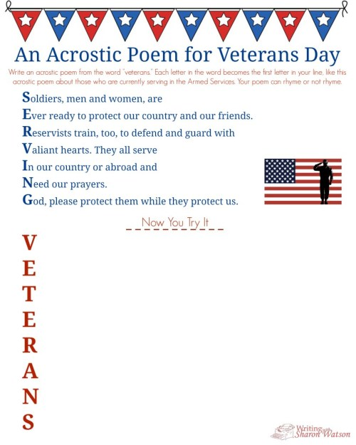 small resolution of Veterans Day Acrostic Poem--Middle School Writing Prompt