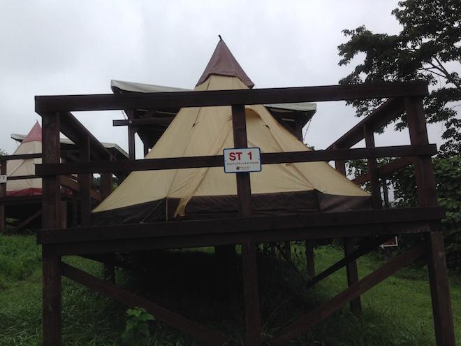 泊まった常設テント