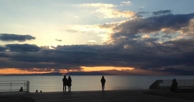 片瀬西浜からの夕日