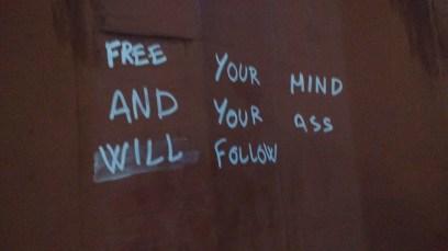 Graffiti outside the bathroom