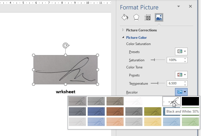 How to Add Signature in Word Recolor