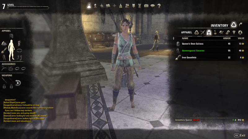 Elder Scrolls Online Inventory Screenshot
