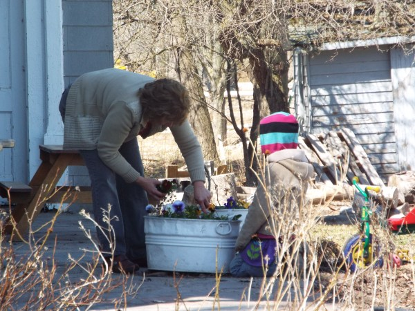 Grandmom visited and helped plant some pansies.
