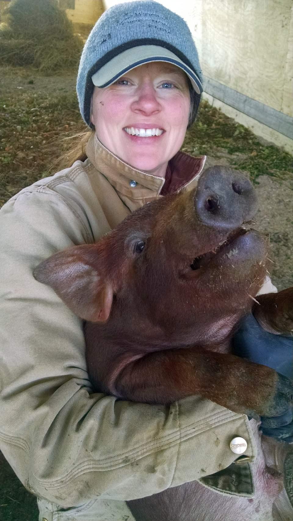 Rachel with Piglet