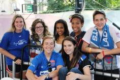 The Lady Saints were out in force for the US match on the Square.