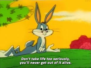Screen shot of Bugs Bunny lying in the grass with the words